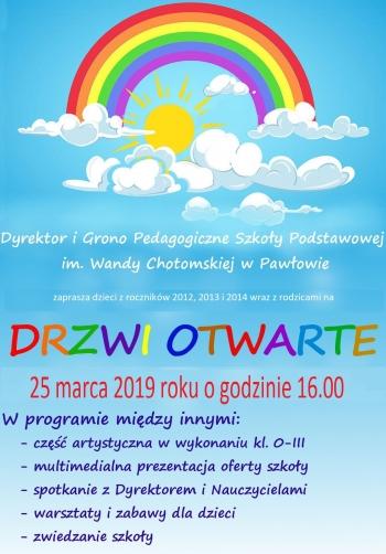 Plakat na drzwi otwarte 2018-2019