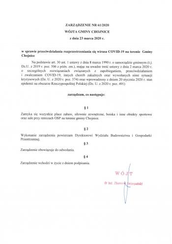 Zarządzenie nr 61_2020 Wójta Gminy Chojnice