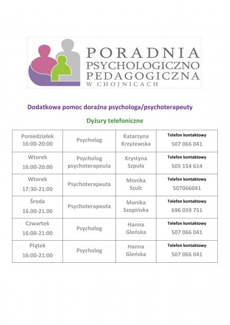 Dodatkowa pomoc doraźna Poradni Psychologiczno Pedagogicznej w Chojnicach
